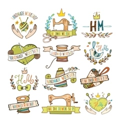 Set of hand drawn logos vector image