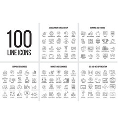Set of thin line icons vector