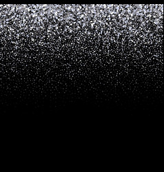 Silver glitter on dark background falling vector
