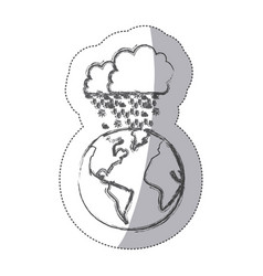 Sticker blurred silhouette earth world cloud with vector