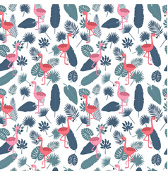 Tropical seamless pattern with pink flamingos and vector