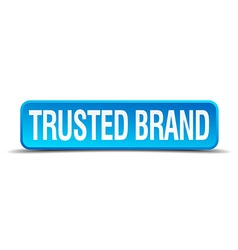 Trusted brand blue 3d realistic square isolated vector
