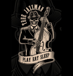 Vintage of skull musician with double bass vector