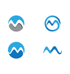 w letter water wave logo template vector image
