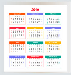 wall calendar for 2019 year from sunday to vector image