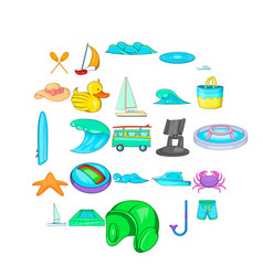 Water safety icons set cartoon style vector