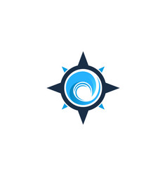 Wave compass logo icon design vector