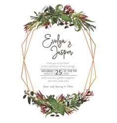 Wedding watercolor seasonal flower cardplants vector