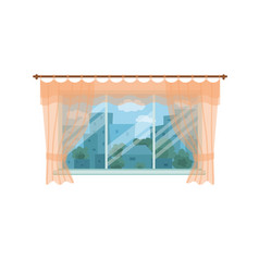 window with city landscape and trees view outside vector image