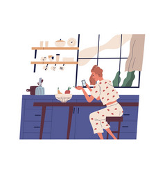 Young woman sitting in kitchen and surfing vector