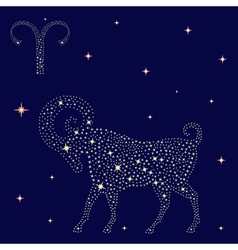 Zodiac sign Aries on the starry sky vector image