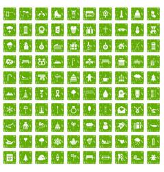 100 winter holidays icons set grunge green vector image