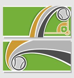 banners with baseball diamond vector image vector image