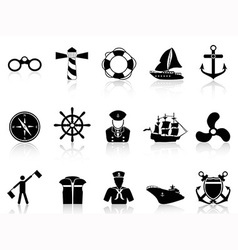 black sailing icons vector image vector image