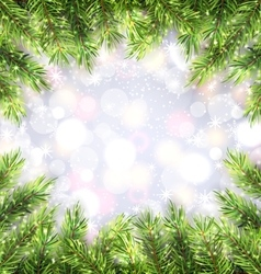 Christmas Background with Fir Tree Branches Frame vector image