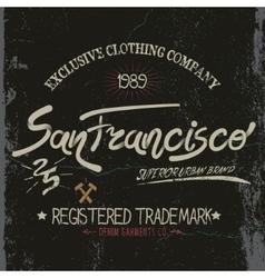 Vintage trademark with San Francisco City text vector image