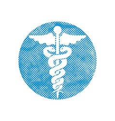 Caduceus medical icon with pixel print halftone vector image