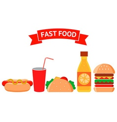 Fast food icons set Junk food vector image vector image