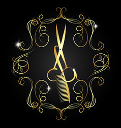 hairdressing scissors and a comb of gold color vector image vector image