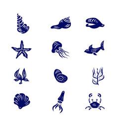 icon set of elements of marine life vector image
