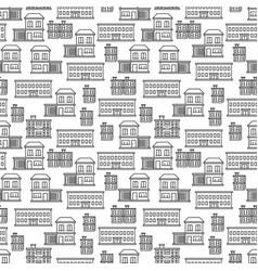 line art houses seamless pattern design vector image