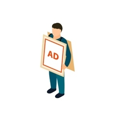 Sandwich board man icon isometric 3d style vector image