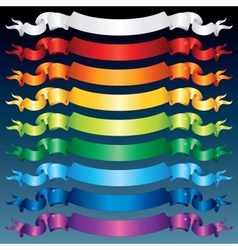 Shiny Ribbon Banners Multicolored Set vector image