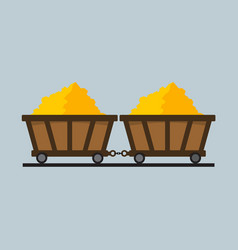 simple flat style train of gold mining graphic vector image vector image