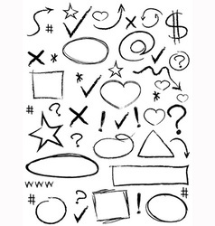 collection of scribble design element vector image