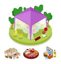 isometric bbq picnic party in tent summer camp vector image