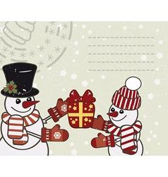 Retro Christmas card with a snowmens vector image