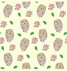 seamless pattern with cute owls and flowers vector image
