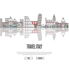 travel tour to italy poster in linear style vector image vector image
