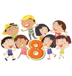 Eight playful kids vector image