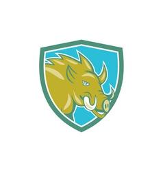 Razorback Head Charge Shield Cartoon vector image