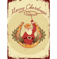 Santa sit on horseshoe with cowboy lasso on vector image vector image