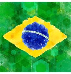 Stylized flag of Brazil Hexagon background vector image