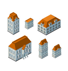 3d isometric city landscape houses gardens and vector image