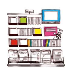A view of bookshelf vector
