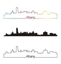 Albany skyline linear style with rainbow vector