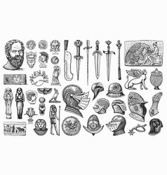 antique elements knightly weapons and armor vector image