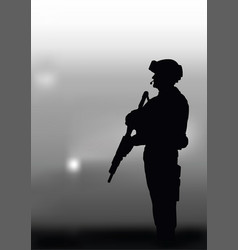Armed soldier on a dark background vector