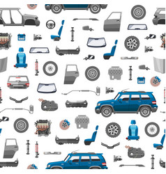 Auto spare parts icons seamless pattern car vector