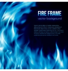 Banner with blue color burning fire frame vector