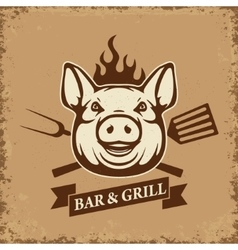 Bar and grill Pig head with kitchen tools on vector image