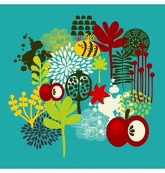 Bee and apple print vector