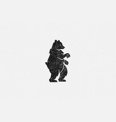 black silhouette wild bear standing as emblem vector image