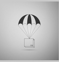 box flying on parachute icon delivery service vector image