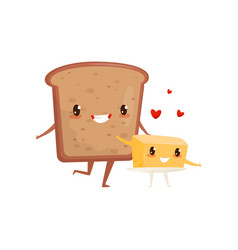 Bread and butter are friends forever cute funny vector