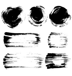Brush stroke elements set vector